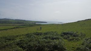 Daddy, Molly and Sophie exploring the hillside in Aberdaron