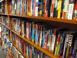 Shelf stacked with travel guide books