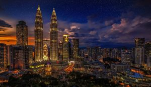 View over Kuala Lumper and the twin towers at night